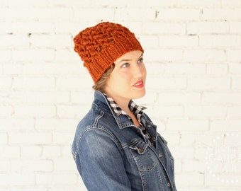 THE WISTERIA HAT | 21 Color Choices | Chunky Hat Knit Slouchy Lace Textured Winter