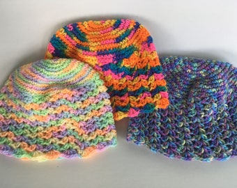 Colorful Crochet Beanie Hat, Fall/Winter Fashion Hats
