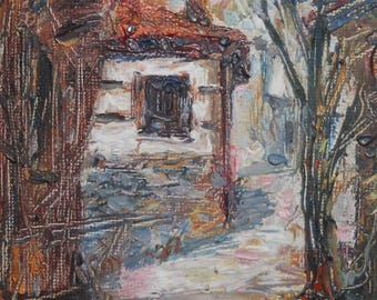 Expressionist Landscape house oil painting signed