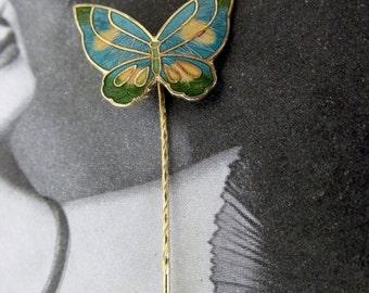 Vintage Blue Cloisonne Butterfly Stick Pin