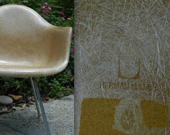 EAMES OCHRE FLAME Embossed Herman Miller Chair butterscotch fiberglass armshell rare color