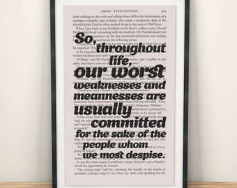 Great Expectations Book Page Art Our Worst Weaknesses And Meannesses Print
