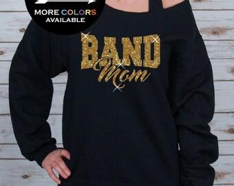 Band Mom Off Shoulder Raw Edge Sweatshirt for Women GLITTER, Mom Sweatshirt, Mothers Day, Band Tee, Plus Sizes (Gold Glitter)
