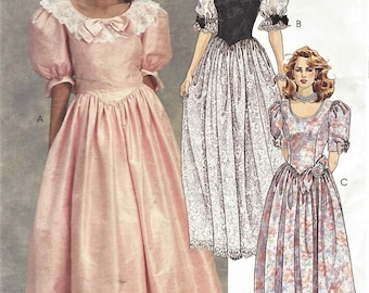 90s Womens Evening Gown or Dress and Flower McCalls Sewing Pattern 4694 Size 8 10 12 Bust 31 1/2 to 34 UnCut Wedding Gown or Prom Dress