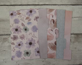 Watercolor Floral - Floral Dividers - Custom Dividers - Planner Dividers - Pocket, A6, Personal, A5 Dividers - Divider Set