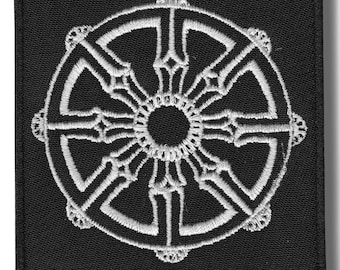 Dharma wheel - embroidered patch, 8x8 cm