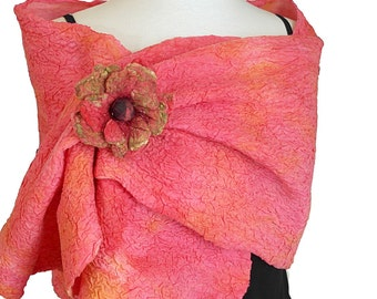 Pink Silk Wrap - Special Occasion- Salmon Pink Silk Stole - Nuno Felt Scarf