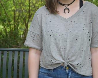 Black crescent moon suede double wrap choker necklace
