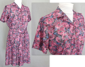 Vintage 1970's Floral Polyester Dress, Modern Size 14 - 16, Large