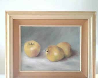 Still Life Vintage Oil Painting of Apples by Rube - Framed and Matted