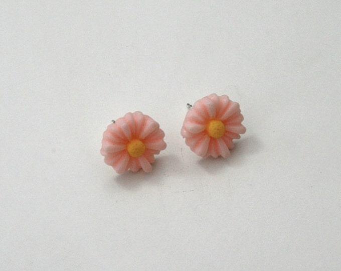 Pink Flower Earrings, Flower Stud Earrings
