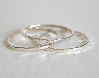 Set of Three Sterling Silver Hammered Rings, Stacking Ring, Silver Ring, Dainty Ring, Stackable Ring, Hammered Stacking Rings