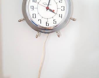1960's Hard Ingraham Nautical Electric Wall Clock with Chrome Fittings
