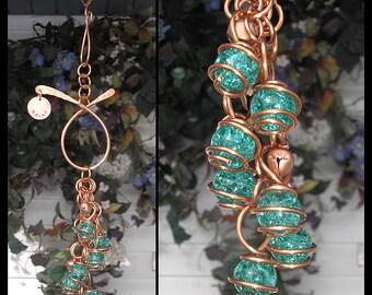 Wind Chimes Glass Copper Garden Art Suncatcher Yard/Lawn/Outdoor Decor