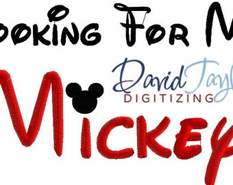 Looking For My Mickey - Embroidery Machine Design - Applique - Instant Download - David Taylor Digitizing