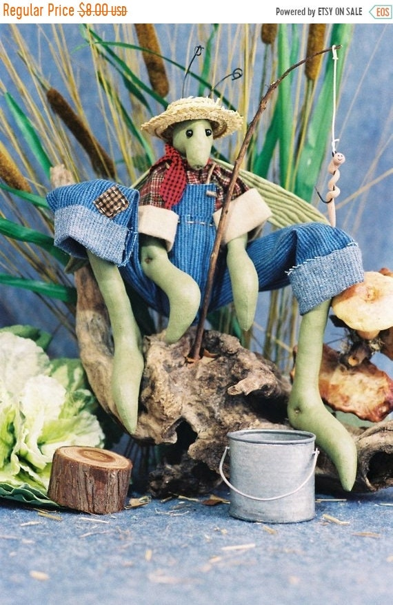 ON SALE Bugsy - Mailed Cloth Doll Pattern 24in Country Boy Grass Hopper Bug