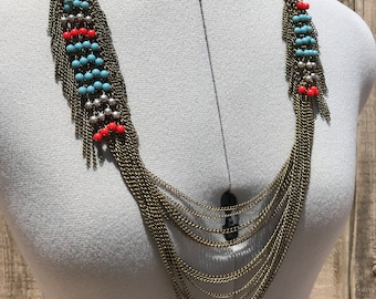 Boho Festival antiqued Tribal statement necklace,  Multiple chains and chain fringe, Gypsy necklace ,Burning man Festival jewelry