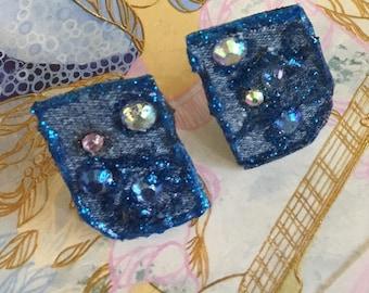 Blue jean denim, clip on adorn with sparkles#C14