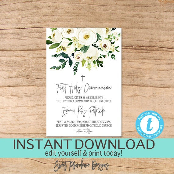 First communion invitation editable 1st holy communion party solutioingenieria Images
