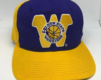 VTG 90s Golden State Warriors Yellow Gold and Blue back script Sports Specialties snapback hat