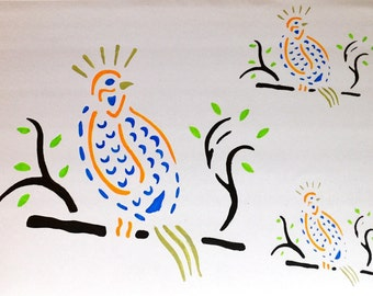 Partridge Stencil Ideal for Cardmaking, Children's Play, Painting or Wall Art.   Made from Eco Friendly Acetate