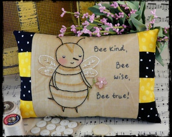 Bee kind hand embroidery Pattern PDF- stitchery wise true