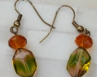 Earrings / Amber and Green Dangle Pendants / Pierced