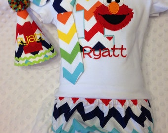 Elmo Birthday Outfit - Complete Set - Personalized