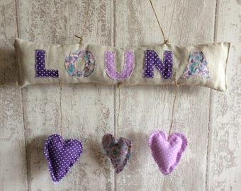 Name to be personalized with little fabric heart