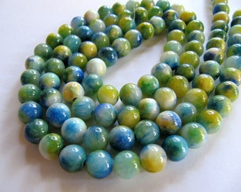 8mm Mountain JADE Beads, Spring Green, Blue, Yellow, Cream, Dyed, Multi Colored, Round, Smooth, Full Strand, 50 Pcs, Candy Jade, Gemstones