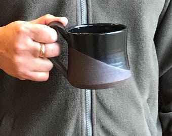 Father'sDay  Black Coffee Mug - Black Tea Mug  Black Hot Chocolate Mug Pottery Mug Earthy Mug Ceramic Black Mug Pottery Mug Unique Mug