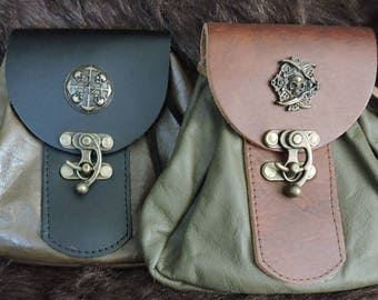 In Stock Large Economy Sporran Design Leather Belt Bag / Pouch Medieval, Bushcraft, Costume, Ren Faire, Green, Skulls