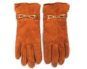 Vintage Genuine 100% Cowhide Leather Womens Gloves with Cozy Lining