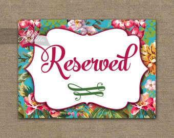 Reserved Sign - Hawaiian Luau Wedding Reserved Sign - Reserved Seating - Tropical Floral Printable Wedding Signs - Reserved Sign TRP