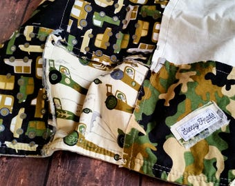 Camo/Jeep/Racing Car Lovey - Mini Quilt - Lovie - Lovey Baby Blanket- Lovie Baby Blanket- Mini Baby Blanket- Security Blanket