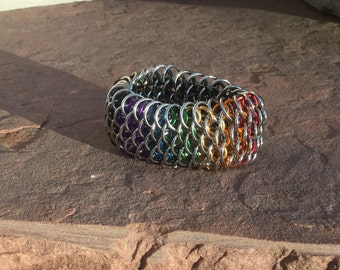 Stretch the Rainbow- stretchy dragonscale chainmaille bracelet