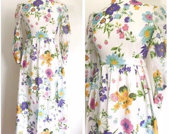 Vintage Dress. 1960's Colorful Pastel Flower Print Long Puff Sheer Sleeve Floor Length Garden Dress. Retro Spring Party Fashion. Size Small