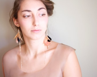 Porcelain Doll - Statement Gold Nude Dangle Earrings - Pink, Beige and Black Feathers