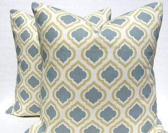 15% Off Sale PILLOWS,Decorative Pillow Blue Gold, Throw Pillows - Pillows - 18x18 pillow covers - Gold Pillow - Yellow pillow -  cushion cov