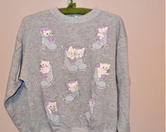 Vintage Kittens and Sneakers on Gray Sweatshirt
