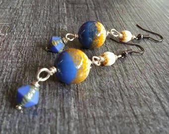 Dangle Silver earrings, enamel, Lampwork bead beads.