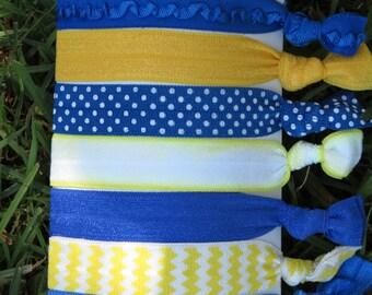 7 Pack Royal Blue Sunshine Golden Yellow Polka Dot Chevron Print Hair Ties Stretch Fold Over Elastic Pony Tail Holder Bracelet S3