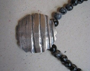 Oxidized Fine Silver Heptagon Necklace with Snowflake Obsidian Beads - Fine Silver Necklace - Beaded Necklace