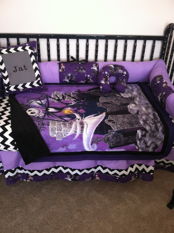 nightmare before christmas baby bedding sets funkthishousenightmare before christmas crib bedding set by bedbugscreations