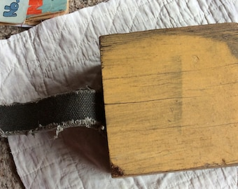 FERRY BOAT BLOCK, vintage wood car stop, mustard paint, ship accessory