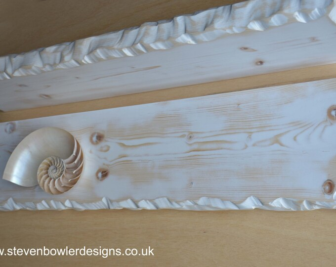 Bespoke Rustic Reclaimed Wood White Coastal Style Bespoke Floating Shelf Driftwood Finish & Decorative Edging with Metal Fixings Supplied