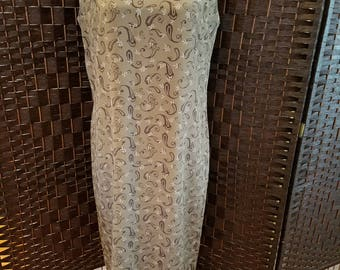 Leslie Fay Ladies Vintage Dress Size 10 Green Brown Business Casual Office Party Holiday Gathering