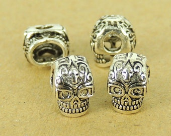 4 Pcs 925 Sterling Silver Double-sided Skull Beads Dia De Muertos Day of The Dead DIY WSP543X4 Wholesale