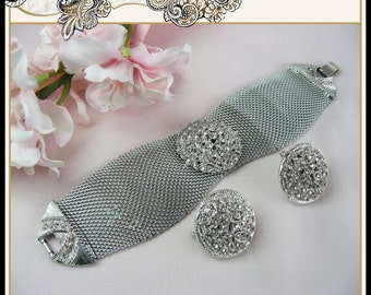 Fabulous Vintage Silver Tone Mesh Bracelet with Clear Rhinestone Center Brooch and Matching Earrings Wedding Bridal Judy Lee Designer