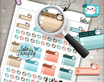 60%OFF - tv Stickers, Printable Planner Stickers, TV Label, TV Checklist, Kawaii Stickers, Planner Accessories, Printable Stickers